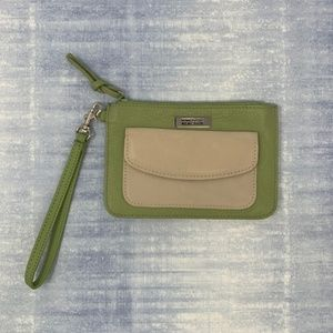 Kenneth Cole Leather Wristlet Wallet Green & Cream